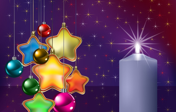 Picture stars, balls, decoration, balls, toys, graphics, candle, stars, Christmas, New year