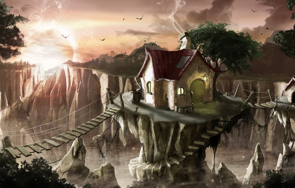 Picture house, wooden bridges, house for dog