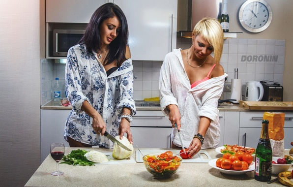 Picture girls, wine, two, glass, bottle, food, brunette, blonde, kitchen, fruit, knives, champagne, vegetables, tomatoes, cabbage, …