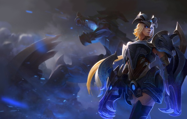 Picture look, girl, dragon, blonde, armor, Shyvana, Half-Dragon