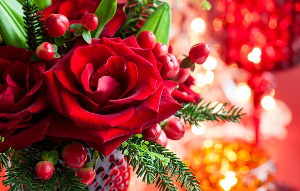 Picture flower, leaves, flowers, branches, roses, spruce, petals, Bud, red, vase, Christmas, holidays, bokeh, New Year