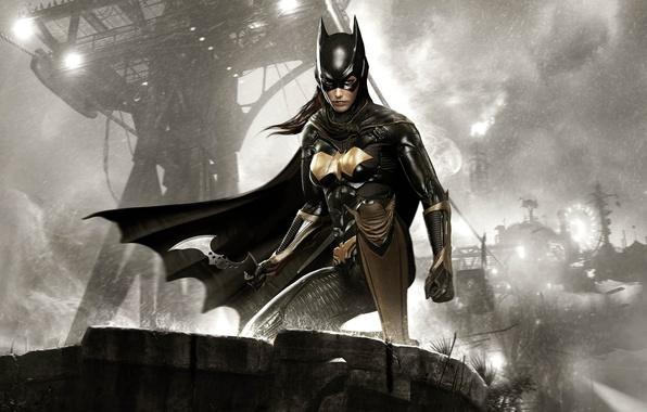 Picture the sky, look, girl, clouds, hair, armor, equipment, Batgirl, Warner Bros, Rocksteady Studios, Batman: Arkham …