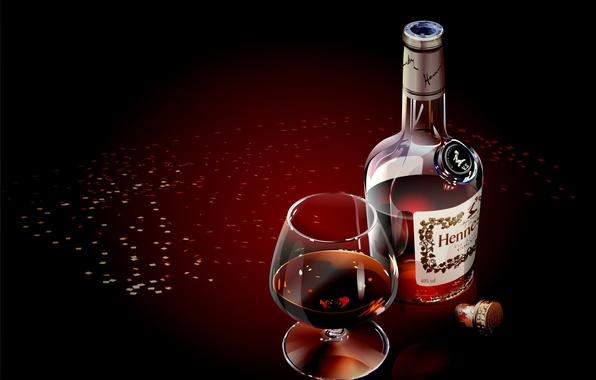 Picture glass, bottle, vector, Cognac
