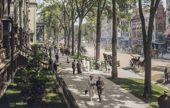 Picture vintage, New York, Broadway, peoples, 1915, colorized, Saratoga Springs