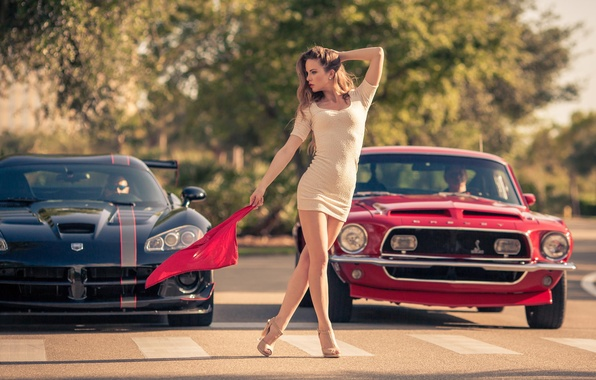 Picture girl, Mustang, Ford, Model, flag, Dodge, red, muscle car, black, Viper, muscle car, front, start, …