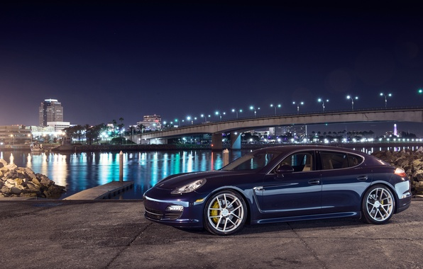 Picture night, blue, bridge, the city, lights, porsche, Porsche, blue, Panamera, panamera s