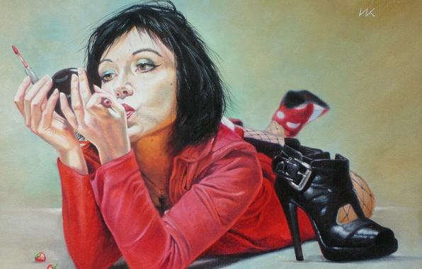Picture girl, figure, brunette, lies, in red, on the floor, cosmetics, Shoe, Vladimir Kuklinski, painted