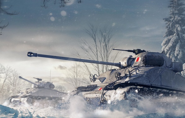 Picture The sky, Winter, Trees, Snow, Iron, Tank, Tanks, WoT, World of Tanks, World Of Tanks, …