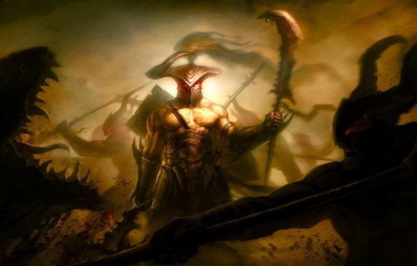 Picture weapons, blood, sword, warrior, art, mouth, monsters, horns, helmet, spear, battle, wound, battlefield, halberd