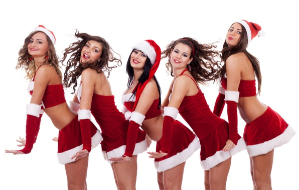 Picture smile, girls, holiday, new year, costumes