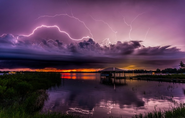 Picture clouds, lake, element, zipper, bad weather, Florida, Lake Charlotte, Sebring