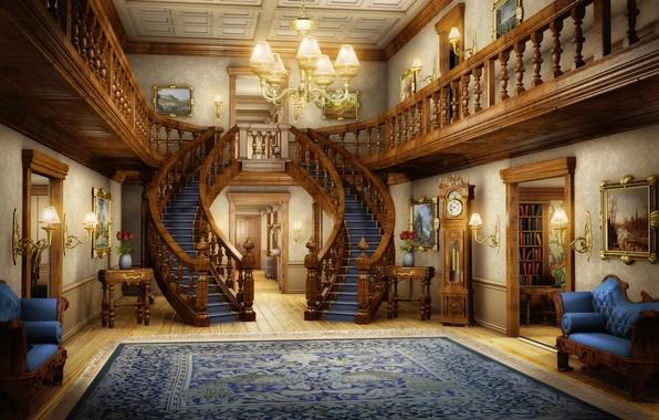 Picture light, carpet, interior, art, ladder, chandelier, pictures, hall, bookcase