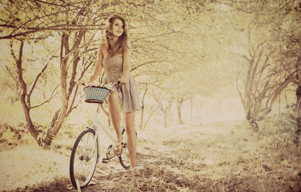 Picture leaves, girl, trees, branches, bike, background, stay, mood, dress, walk, basket, widescreen, full screen, HD ...