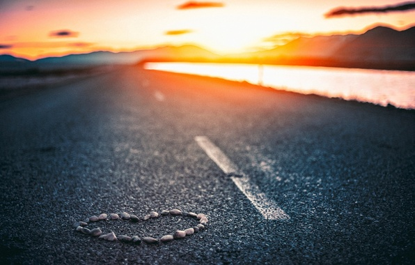 Picture road, the sky, asphalt, water, the sun, clouds, love, sunset, river, stones, background, Wallpaper, mood, …
