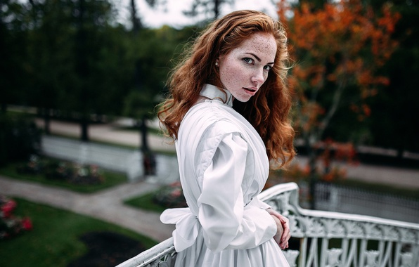 Picture autumn, dress, freckles, the beauty, redhead, vintage, Oksana, Oksana Butovo, Ivan Proskurin