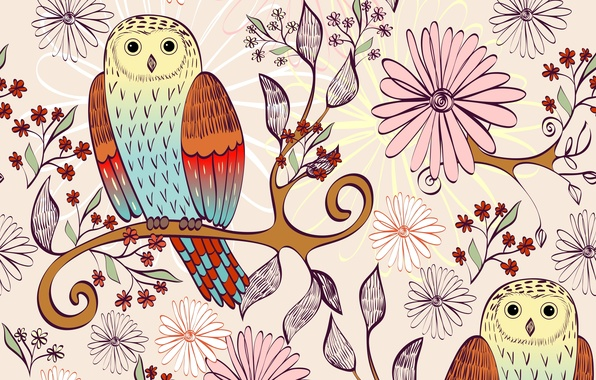 Picture flowers, birds, branch, texture, owls, leaves