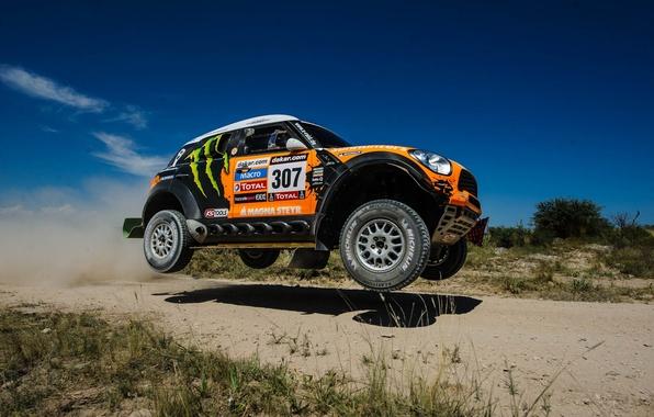 Picture The sky, Auto, Wheel, Machine, Speed, Race, Orange, Shadow, Day, Mini Cooper, 307, Rally, Dakar, …