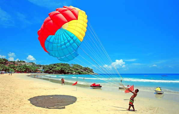 Picture sea, beach, the sky, clouds, people, parachute, resort, jet ski