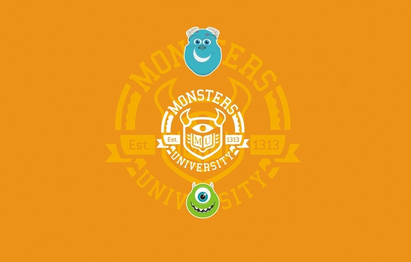 Picture blue, green, the inscription, round, minimalism, orange background, faces, Monsters University, Inc., Monsters Inc., Monsters …