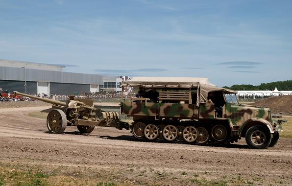 Picture camouflage, coloring, tractor, German, half-track, Sd Kfz 7, German anti-tank gun PaK 43/41, 8 ton