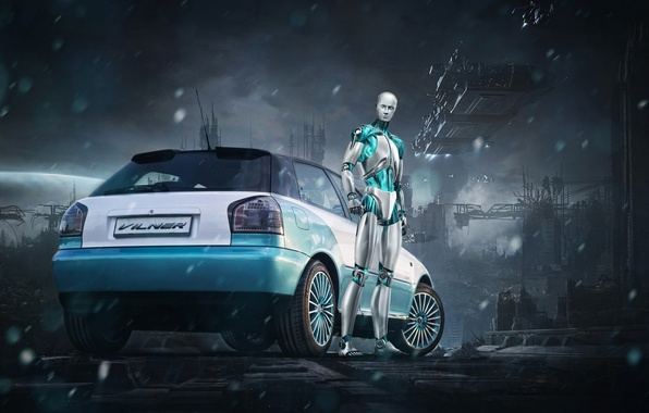 Picture background, Audi, tuning, robot, Audi, drives, Android, rear view, tuning, ESET, Vilner