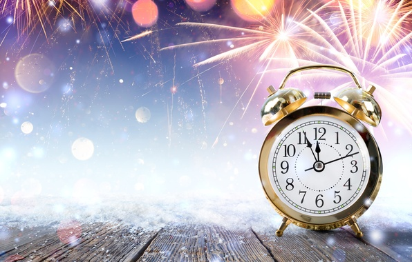 Picture snow, glare, holiday, watch, salute, alarm clock, New year, fireworks, flash, midnight