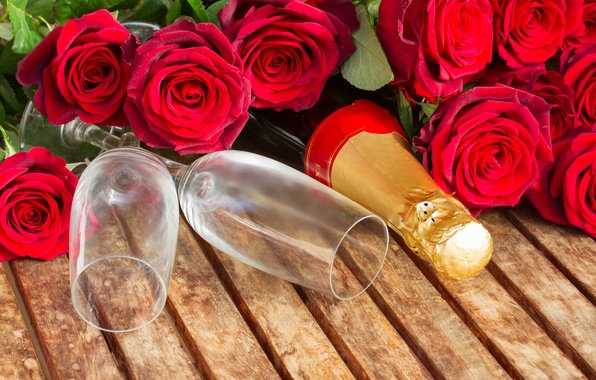 Picture roses, glasses, champagne, romantic, Valentine`s day, Valentine's day