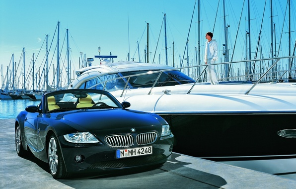 Picture yacht, BMW, pier