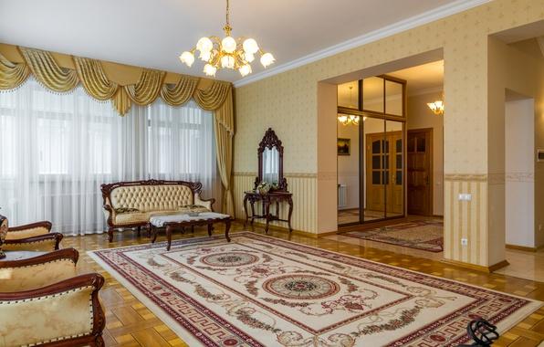 Picture photo, Design, Sofa, Carpet, Chandelier, Interior, Living room