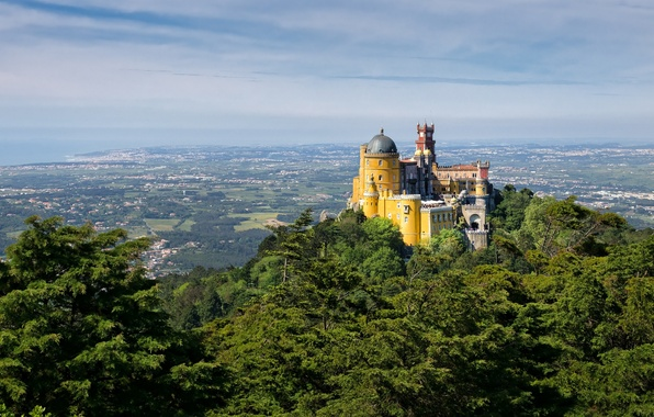 Picture the sky, castle, tower, mountain, valley, Portugal, the dome, the Pena Palace