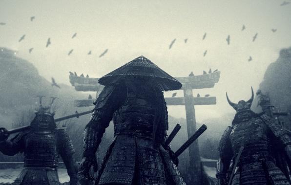 Picture snow, Japan, crows, katana, Sucker punch, samurai