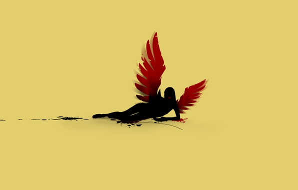 Photo wallpaper blood, wings, angel fall