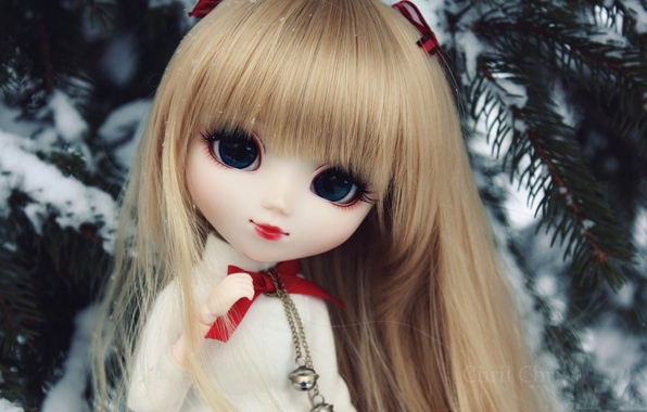 Picture winter, toy, doll, tree, bangs. Rus