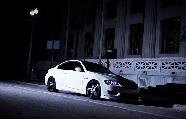 Picture white, night, street, BMW, shadow, BMW, lantern, white, e92