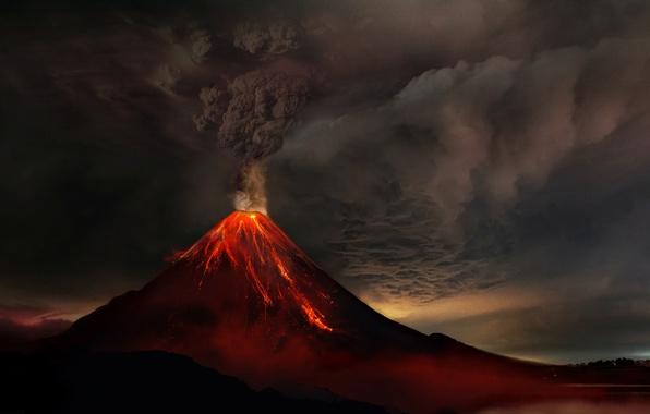 Picture smoke, mountain, the volcano, lava, the eruption of the volcano