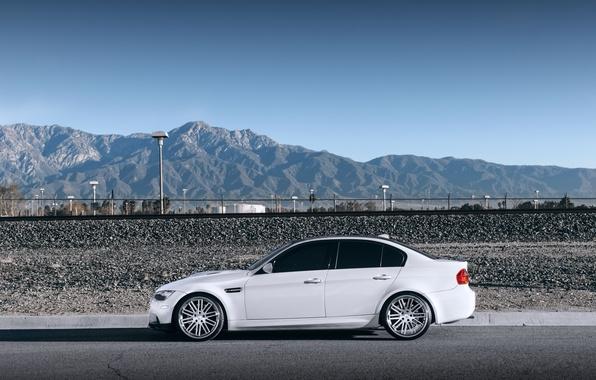 Picture white, the sky, mountains, bmw, BMW, profile, white, wheels, drives, e90