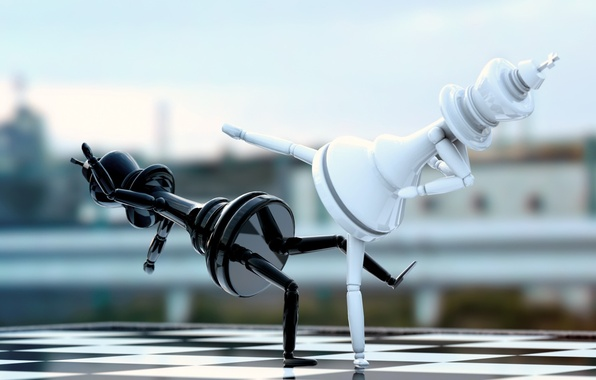 Picture white, abstraction, space, black, chess, art, Board, white, black, fight, figure, chess, fight, king, king, …