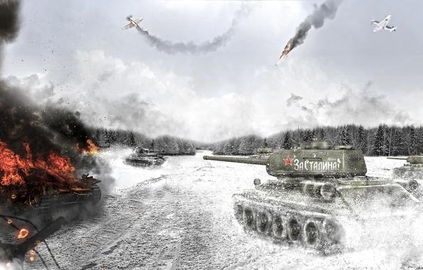 Wallpaper smoke, art, tank, T-34-85, Soviet Tank, War ...
