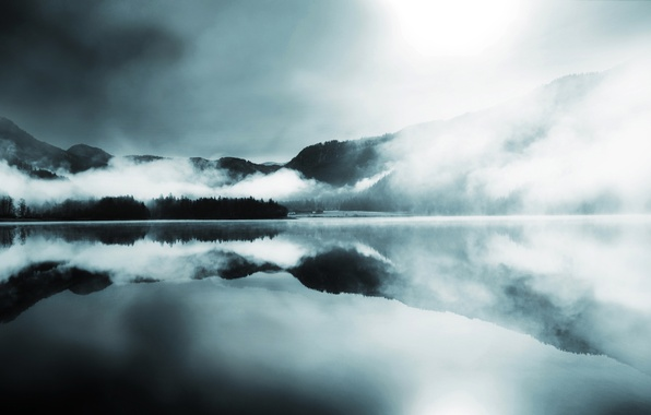 Picture forest, mountains, fog, lake, surface, reflection, hills, coniferous