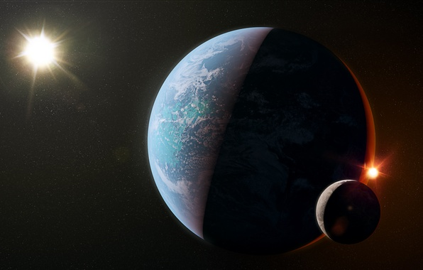 Picture light, planet, shadows, Sci Fi