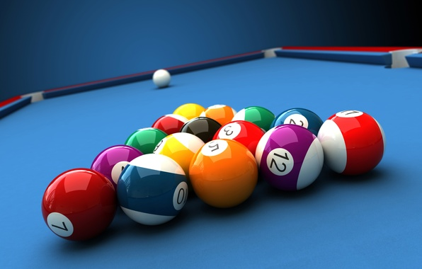 Picture white, abstraction, table, balls, the game, ball, Billiards, art, pyramid, pool, triangle, pool, billiards, wallpaper., …