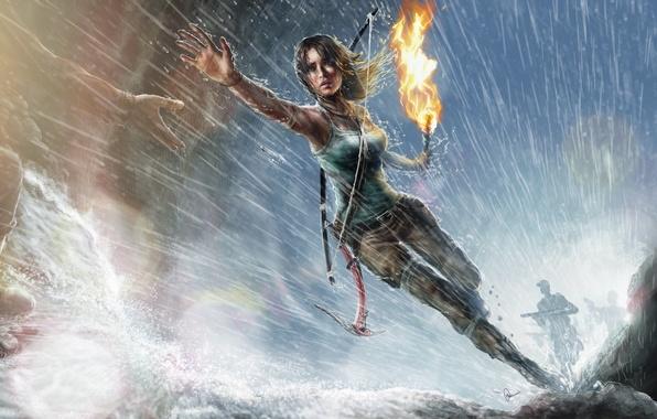 Picture girl, rain, hand, art, running, torch, Lara Croft, Tomb raider