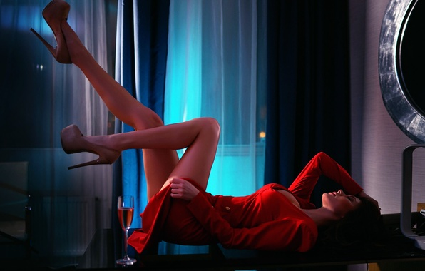 Picture girl, neckline, legs, in red, Elya, Ivan Gorokhov, Ale Pipkin
