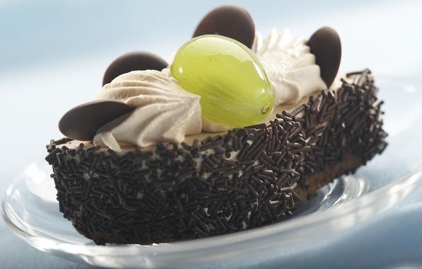 Picture macro, the sweetness, food, chocolate, food, grapes, cake, cake, cream, dessert, chocolate, delicious, sweet, sugar, …