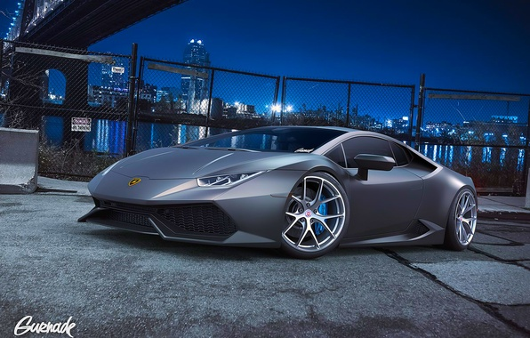 Picture Lamborghini, City, Front, Grey, Supercar, Wheels, Huracan, HRE, by Gurnade, LP640-4, Nigth
