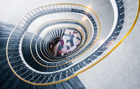 Picture spiral, staircase, stair, handrail