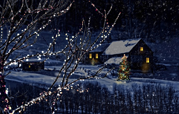 Photo wallpaper Nature, Winter, Night, Snow, House, Branches, Snowflakes, New year, Tree