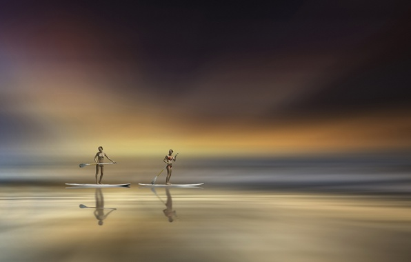 Picture sea, the sky, girls, sport, paddles