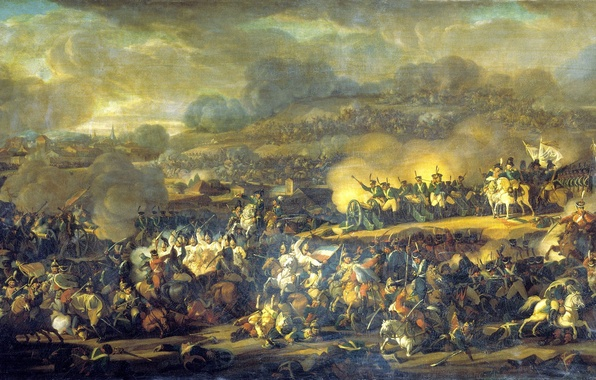 Picture war, smoke, gun, soldiers, battle, Russian, cavalry, the French, the battle of Leipzig, 6 Oct …