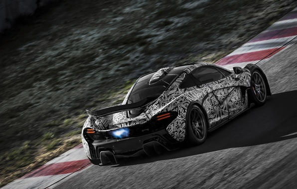 Picture road, flame, track, exhaust, hypercar, Mclaren P1